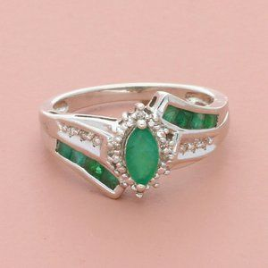 zales sterling silver diamond & emerald ring